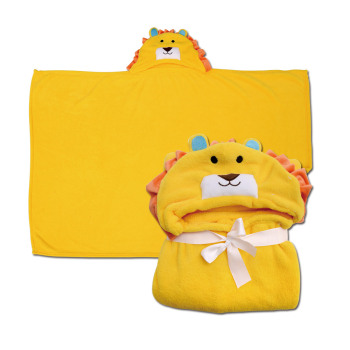 Cartoon Yellow Lion Baby/Children Flannel Blanket, Baby Bathrobe/Baby Cloak