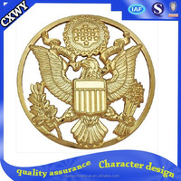 Customized hollow out decorative 3D eagle metal with gold plated badge From CXWY