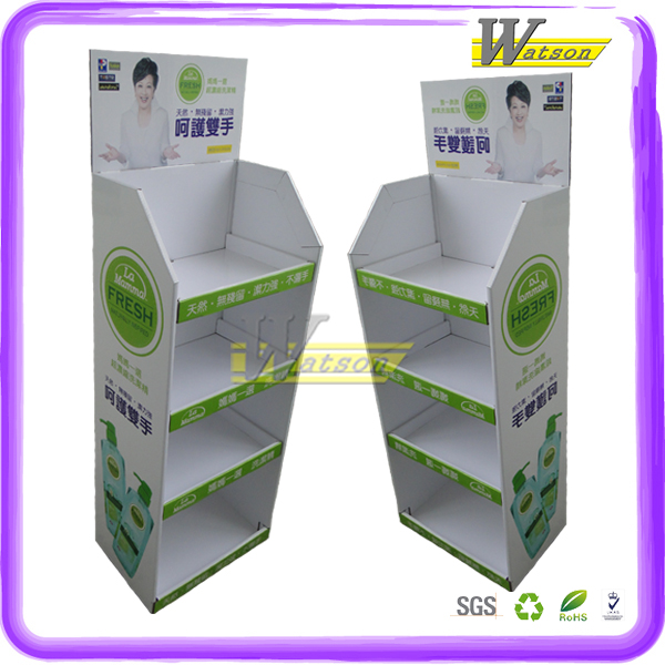 Custom kitchen detergent cardboard floor tray display stand for protect mother hands