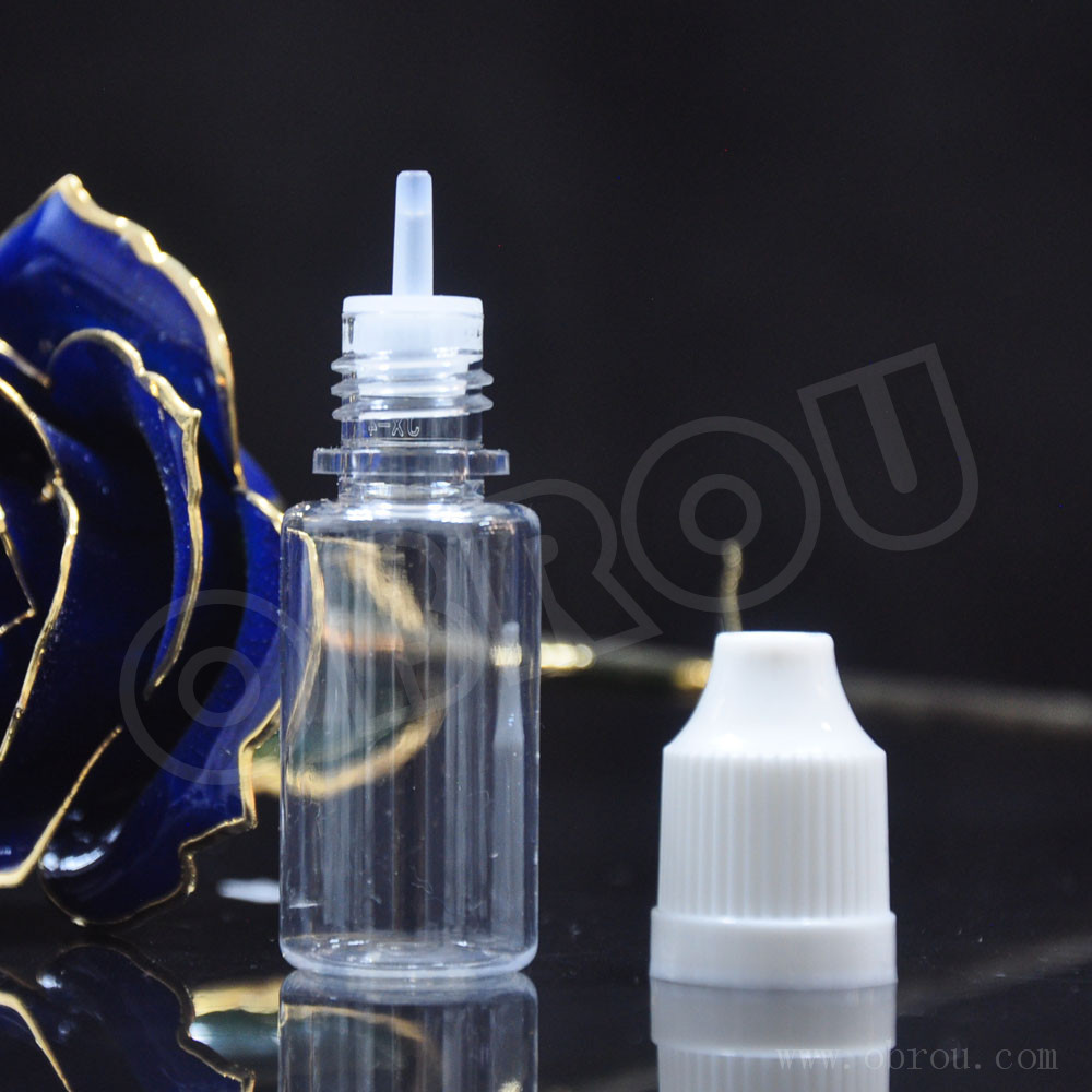 High quality fluid-tighy PET e liquid bottle 20ml with child proof cap and long thin tip