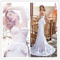Patterns Mariage Vintage Strapless Apparel 2015 New Style Gorgeous Crocheted Backless MM-3222 Elegant Sexy Mermaid Wedding Dress