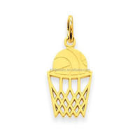 Free Shipping 18K Gold Textured Hoop and Basketball Pendants Charms With Jump Ring