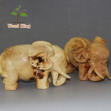 Collection Business Gifts Pure Hand Pendulum Dongyang Decorative Indian Elephant Wood Carving