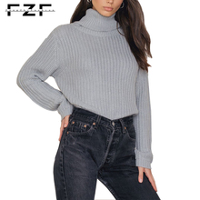 Ladies Cozy Long Sleeve Plain Light Grey Ribbed Wool Cable Knit Turtleneck Sweater