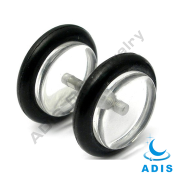 transparent UV acrylic fake piercing ear plugs with O rings