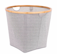 Soft-sided square storage bins or cube storage organizers with bamboo rim