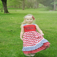 wholesale summer sleeveless baby girls letter embroidered chevron long dress for 4th of July