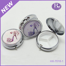 New Product HX-7018 Round Silver Wallet Japanese Pill Box
