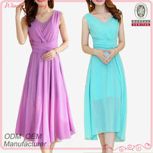 Top Fashion Elegant Fitted chiffon sleeveless long purple and turquoise dress