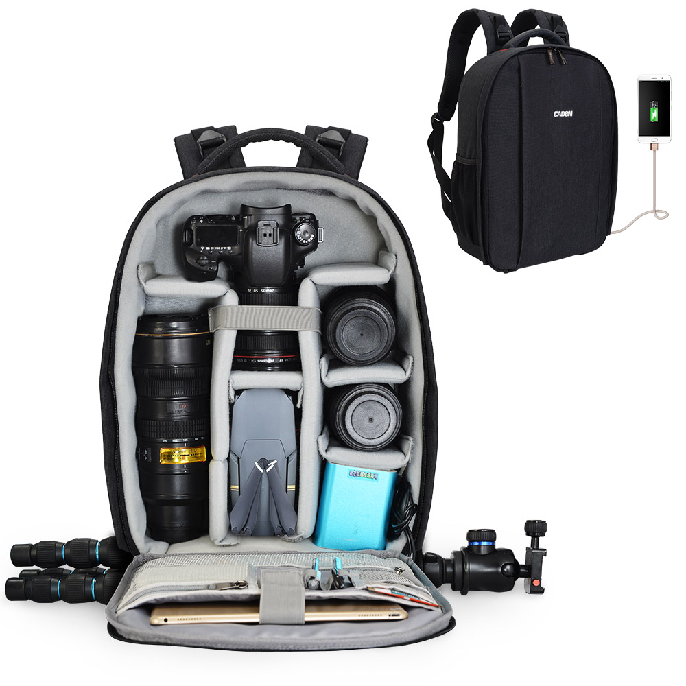 CADED Large Capacity Waterproof Polyester Black Detachable DSLR <strong>Camera</strong> Backpack Laptop Bag