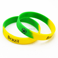 Printed Football Team Logo Silicone Wristband Bracelet for Brazil, France, Spain and Portugal