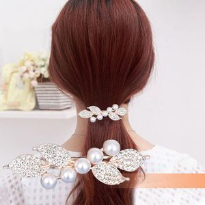 MS001 Korean version of the pearl rhinestone butterfly with clip headdress Women's wild ponytail clip flower hair accessories