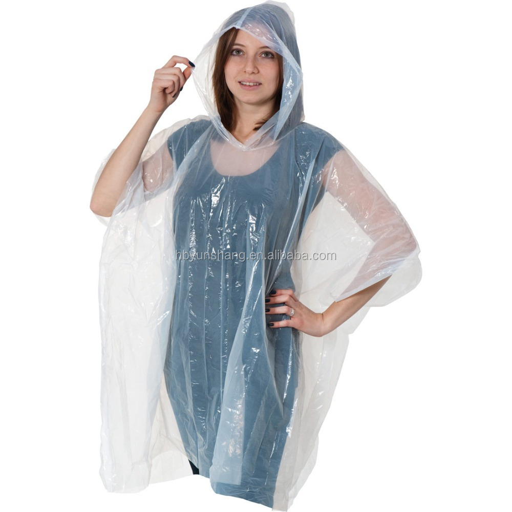 EVA /PE rain PONCHO wholesale room environmental protection custom pe disposable printed rain poncho