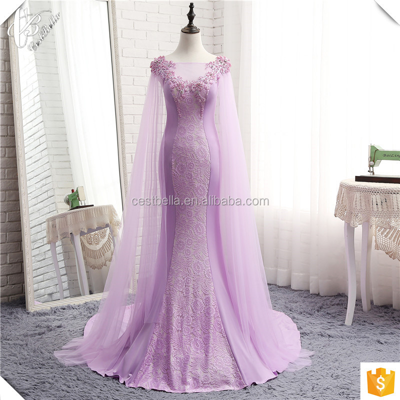 Stunning Beads Appliqued Purple Mermaid Wedding Dress Arabic Lady Long Train Bridal Gown 2017