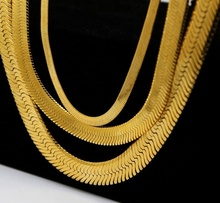 10K 14K 18K solid gold platinum herringbone chain necklace
