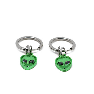 16 gauge fake nose ring 8mm with green skull charms