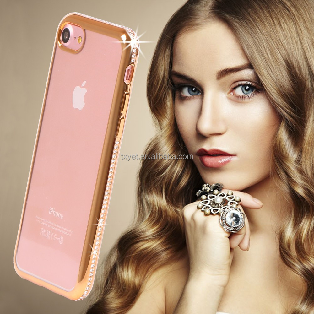 new cases for 2016 luxury electroplating bumper crystal Handmade clear thin tpu diamond case cover for iPhone 6