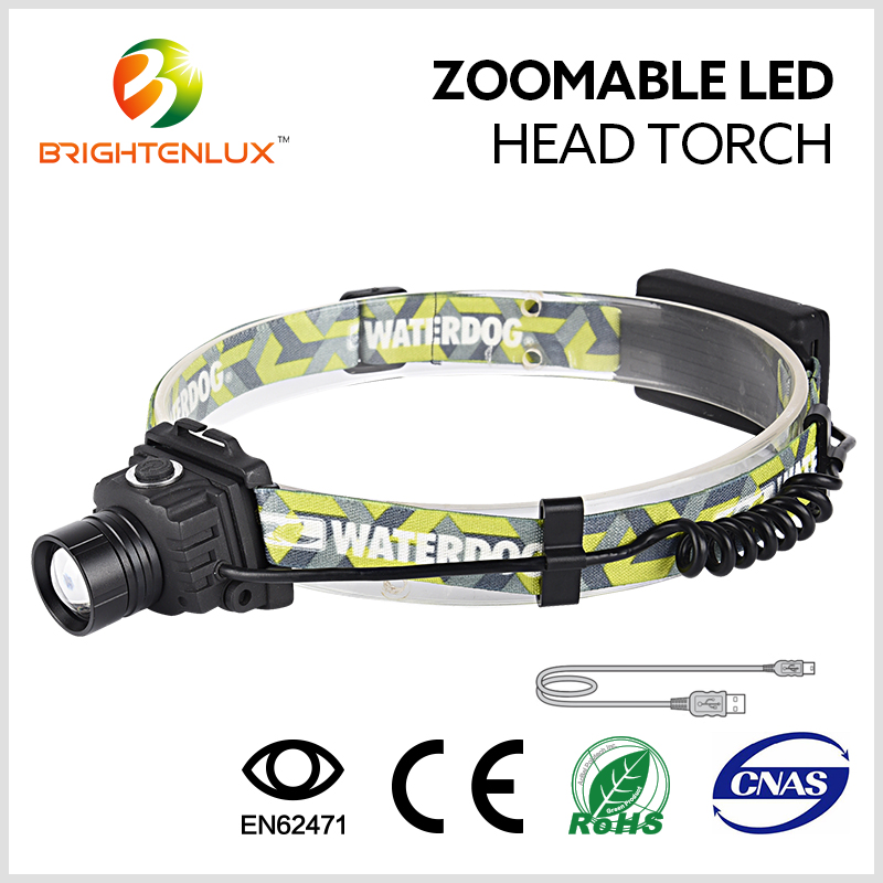 5W Led Head Torch Custom Any Color USB Charged High Bright Led Headlamp