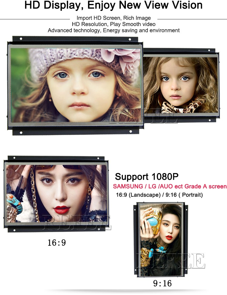 Advertising lcd frame 10 open frame tablet media player digital signage
