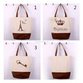 New Fashion Custom Printing France City Name Souvenir Canvas Tote Bag with Matching Colored Strap and Bottom