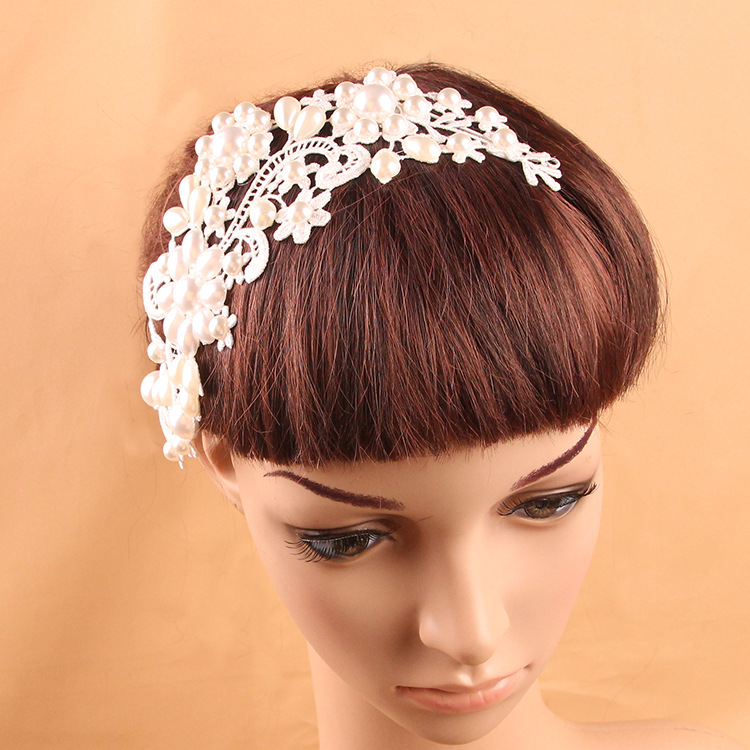 ZH2109A Handmade Wedding Women Lace Pearl Hair Accessories