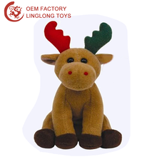 Custom Christmas Deer Elk Toy Soft Brown Christmas Reindeer Plush Sitting Christmas Deer