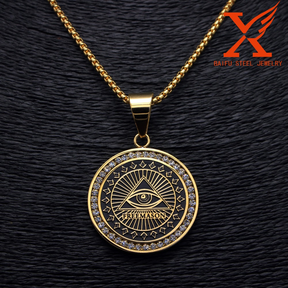 Stainless Steel 14K Yellow New Eye Freemason Masonic Round Rhinestone charms