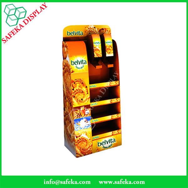 Custom Point of sale floor display Cardboard snack display racks for sweets