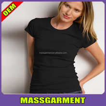 Factory customized top quality women's black slim fit t shirt
