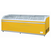 Three curved glass lids chest freezer showcase