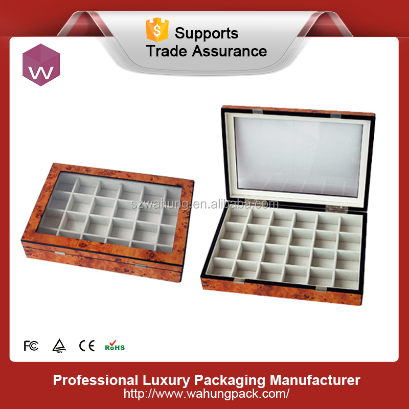 tea storage wood box with glass lid ,tea gift packaging box wood