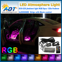 Car foot light music control RBG 7colors changes 9led atmosphere light