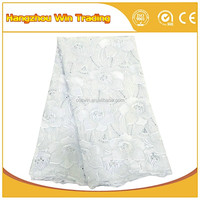 High quality african eyelet voile lace white cotton voile fabric for women and man