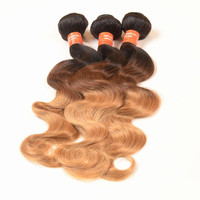 Top Quality Ombre Brazilian Hair Bundles 3pcs/lot Three Tone 1b 4 27 Ombre Virgin Hair DHL Free Shipping