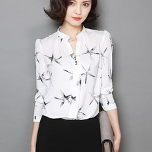 Starfish Pattern Open-Necked Model New Design Uniform Chiffon Ladies Blouse