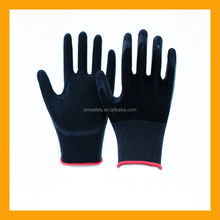 Black Rubber Grip Palm Gloves Nylon Latex Coated Safety Gloves