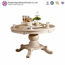 Luxury wood carved dining room furniture rotating round wood dining table