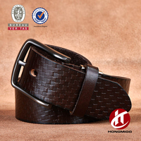 Western Embossed Black Brown Leather Belt Strap Snaps for Interchangeable Buckles