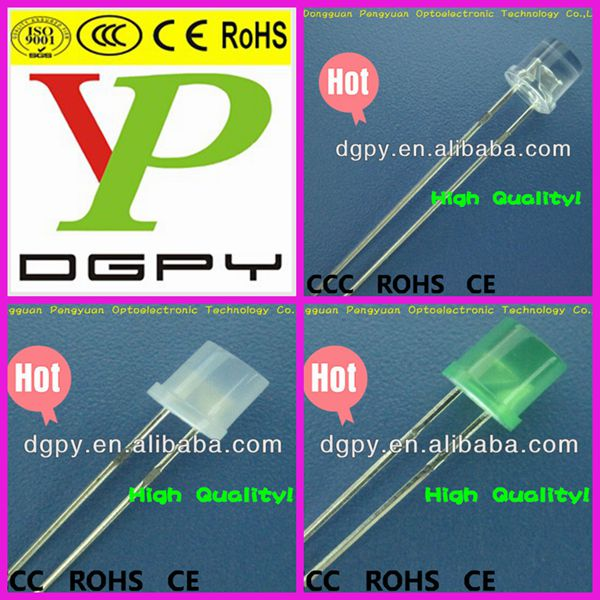 China Factory High Brightness Green/White 5mm Flat Top LED/5mm LED Flat Top Light Emitting Diodes ( CE & RoHS )