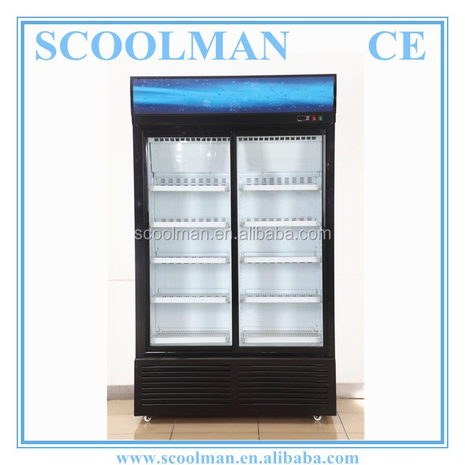 Store Beverage Movable Two Door Display Cooler