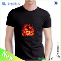 High quality new fashing custom design led t-shirt 100% cotton material music activated led t shirt
