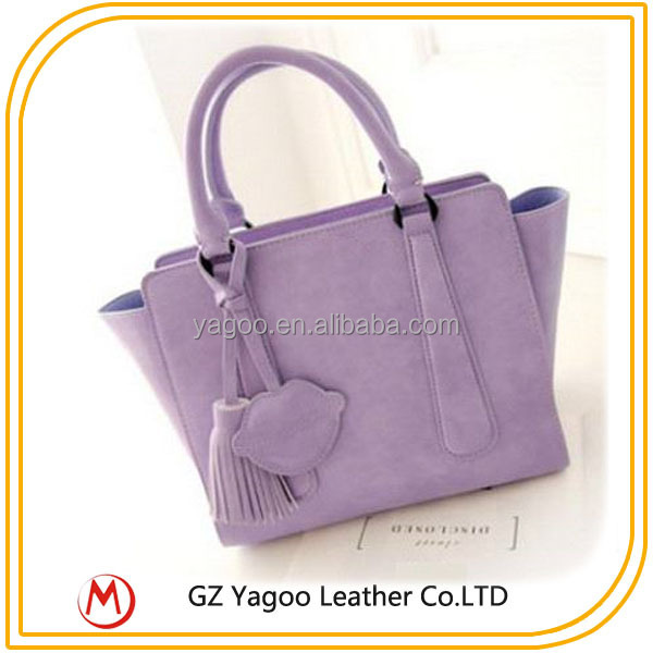 latest fashion handbag images pure color tassels handbag