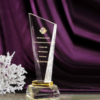 Custom transparent crystal award trophy