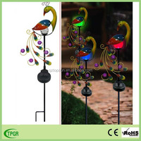 Factory wholesale metal material peacock statue on stick garden decoration