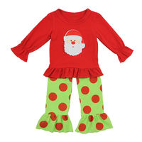 Wholesale boutique applique red ruffle shirts and polka dot pants sets girls children birthday clothes Christmas outfits