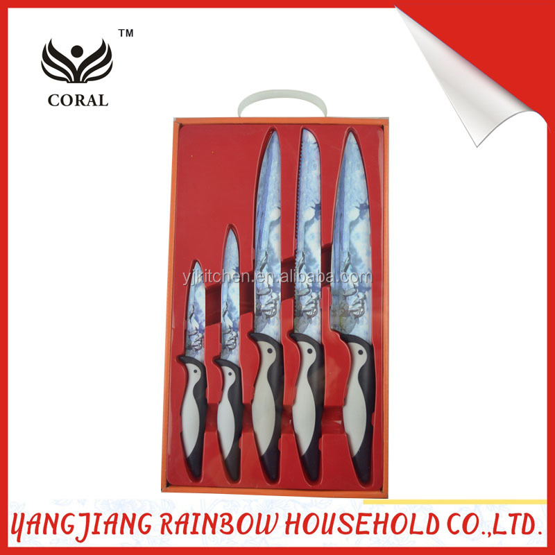 FDA & LFGB 5pcs cute animal pattern coating kitchen knives