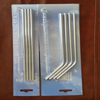 4 Stainless Steel Drinking Straws with Cleaner brush