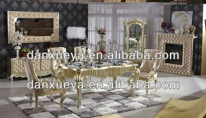 luxury dining room furniture golden serie classical oak dining table