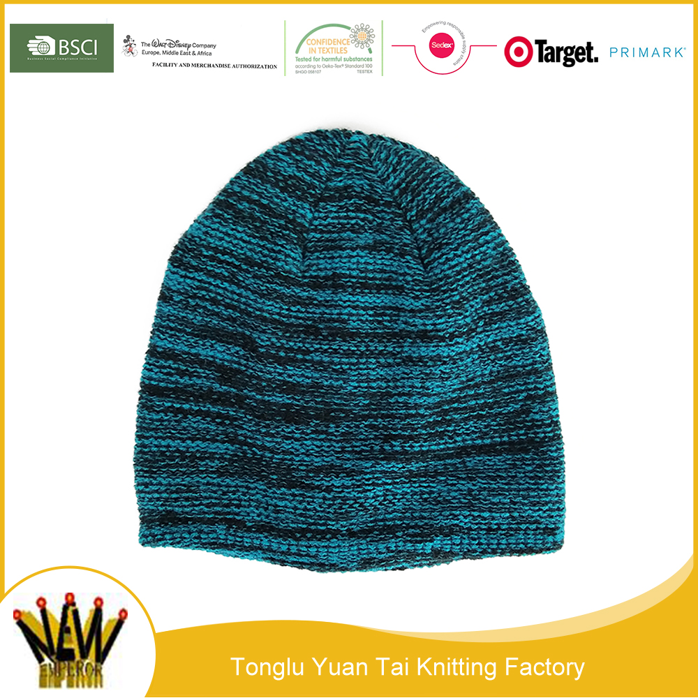 Wholesale beautiful ombre warm acrylic knitted beanie hat
