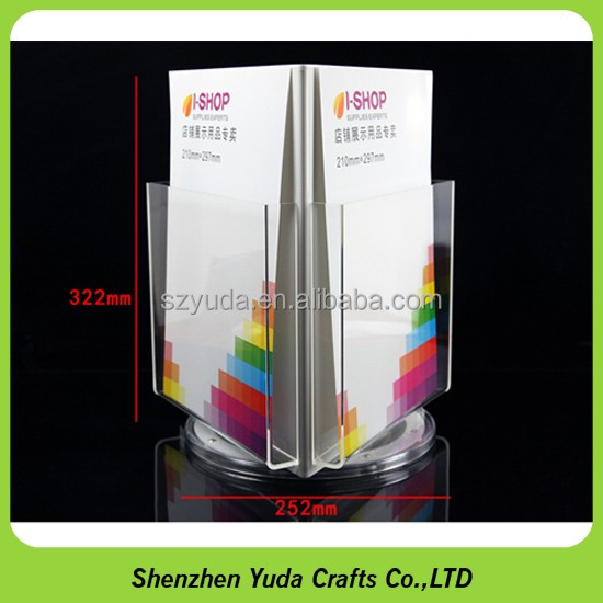 Acrylic rotating file holder,Acrylic desktop file holder plexiglass brochure holder